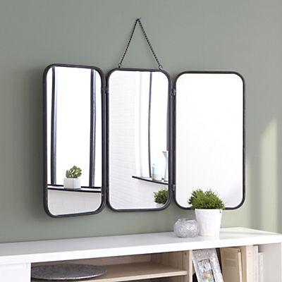 Miroir De Barbier Avec Cadre En Metal Noir 93x109 5cm Miroir De