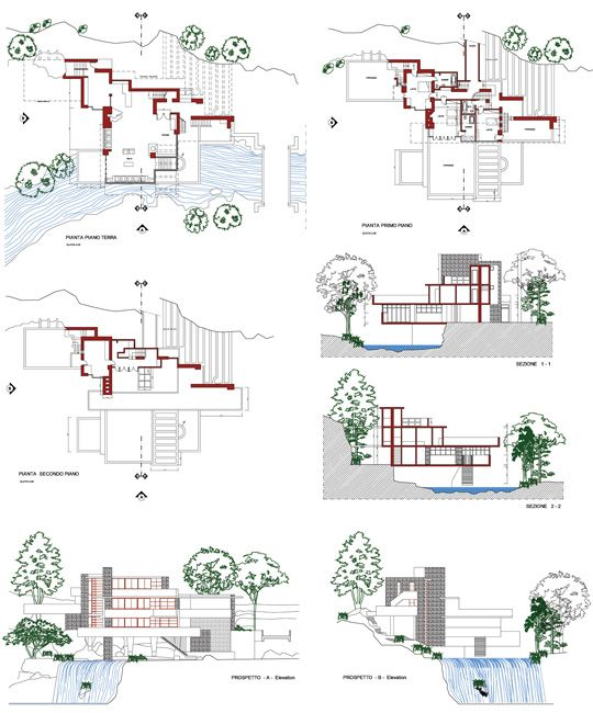 Casa sulla cascata frank lloyd wright 2d dwg for Planimetrie della casa plurifamiliare
