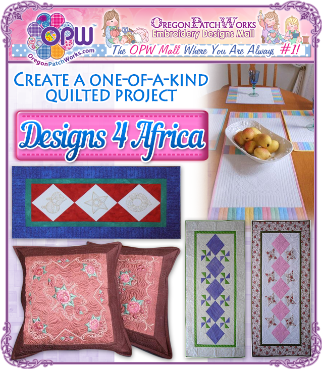 Create a one of a kind, quilted projects, with #machineembroidery designs from  Designs 4 Africa!