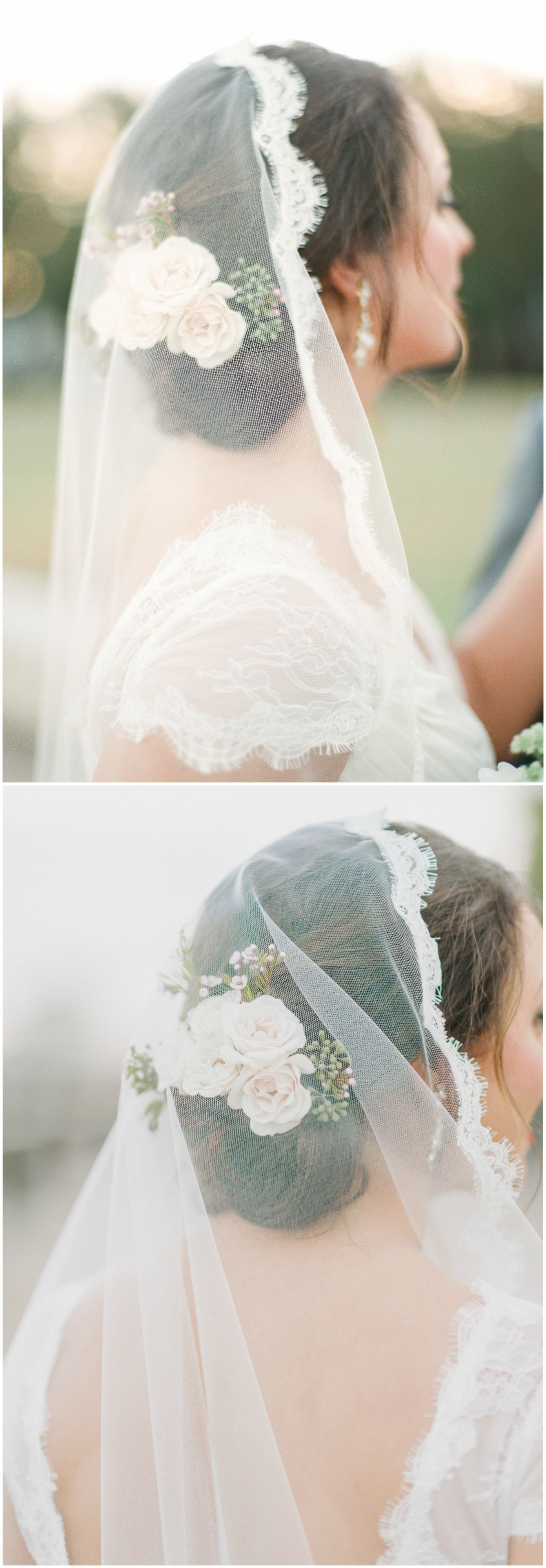 Wedding hair ideas lacetrimmed veil pink roses low chignon