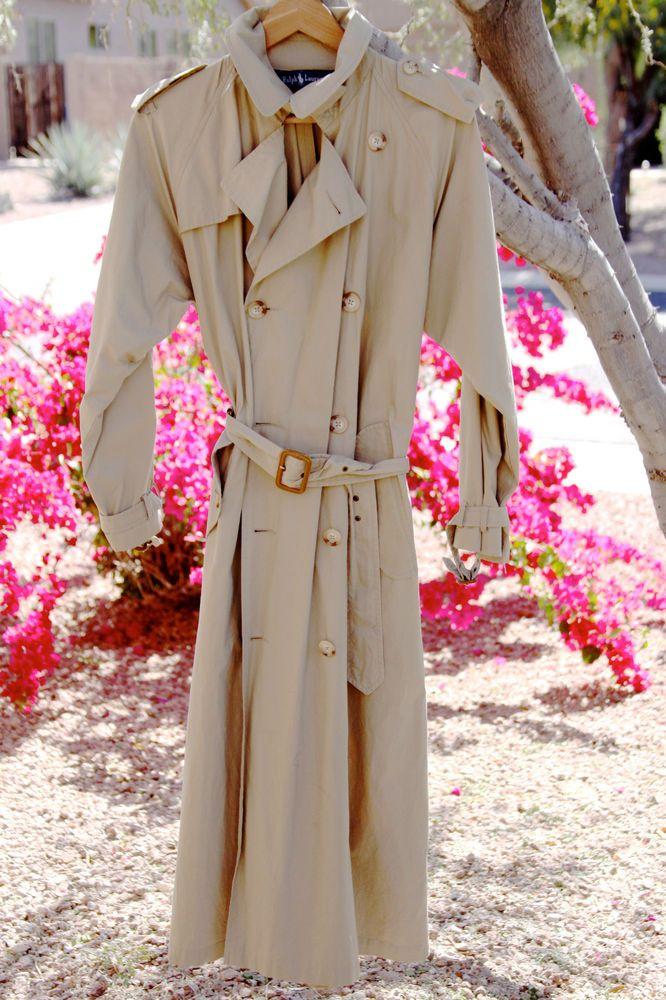 POLO RALPH LAUREN Women's Raincoat Trench Cotton Khaki Belted Coat Size 4