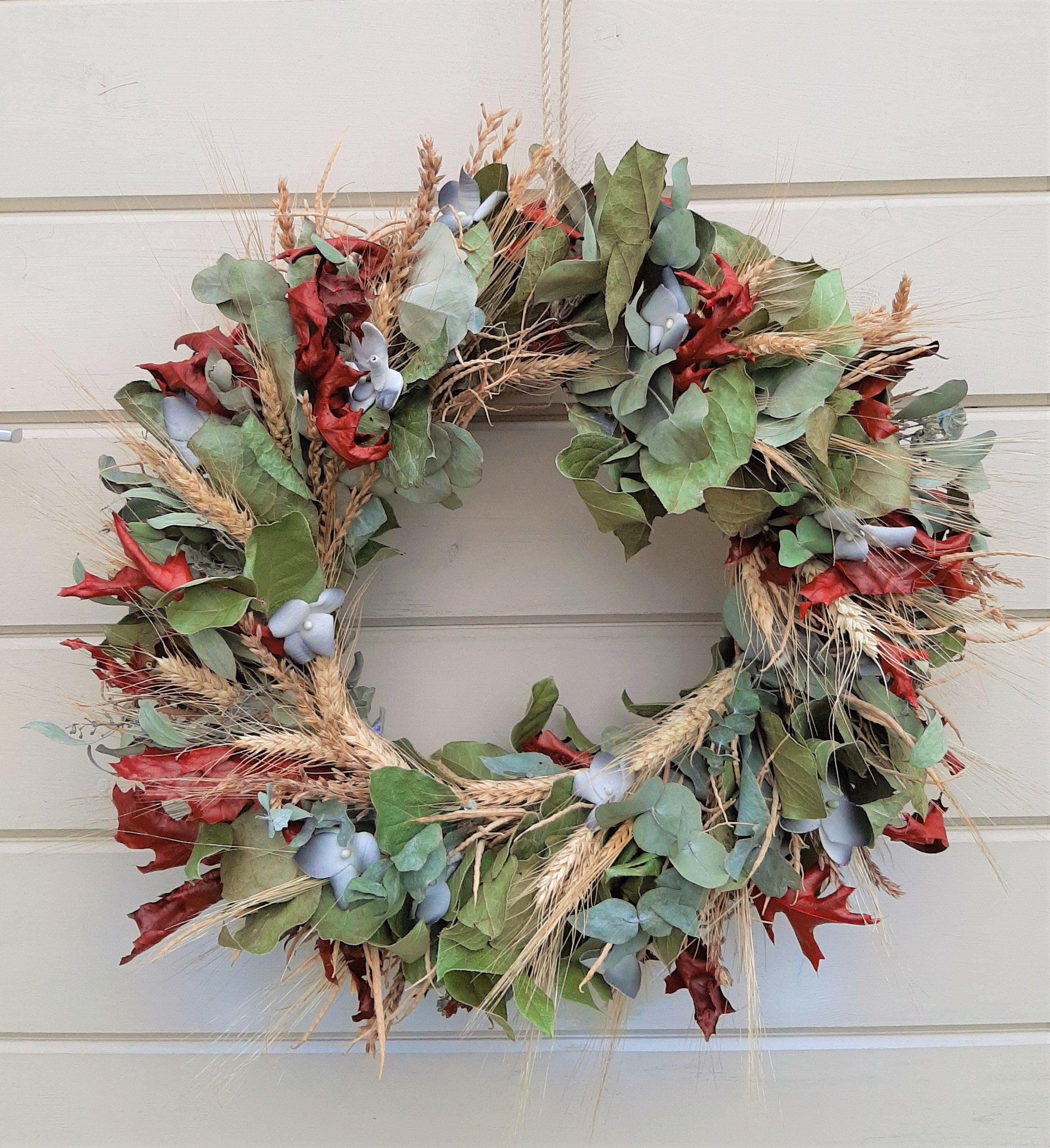Photo of Eucalyptus wreath ~ Door wreath ~ Entrance wreath ~ Spring door hanger ~ Summer door wreath ~ Dried eucalyptus and plant hanger ~ Outdoor wreath