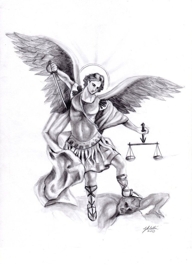 Michael By Frankxx On Deviantart Michael Archangel Tattoo Outline