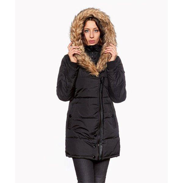 9c9789516 Celsius Black Faux Fur Side-Zip Puffer Coat ($43) ❤ liked on ...