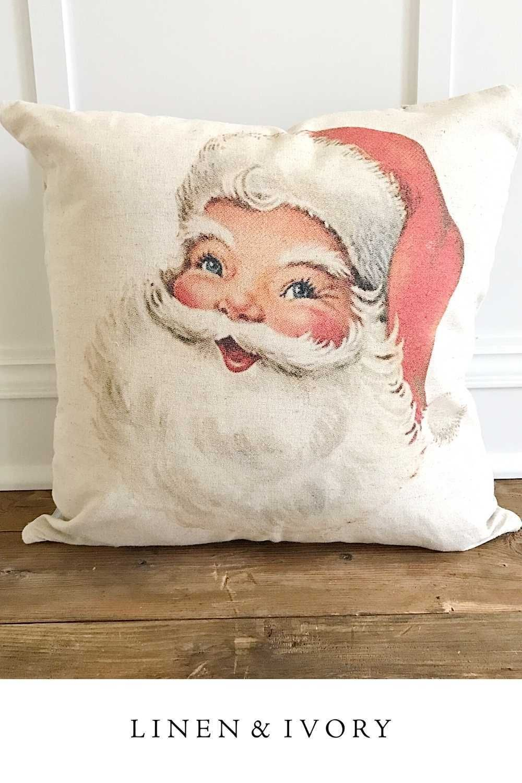 Vintage Santa Pillow Cover Santa Pillow Etsy Pillow Covers Pillow Covers