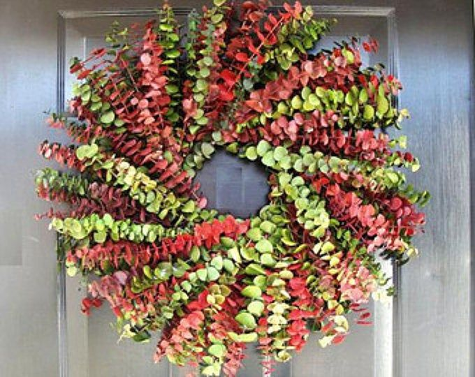 Photo of Christmas Wreath, Holiday Wreath, Pine Cone Wreath, Red and White Wreath