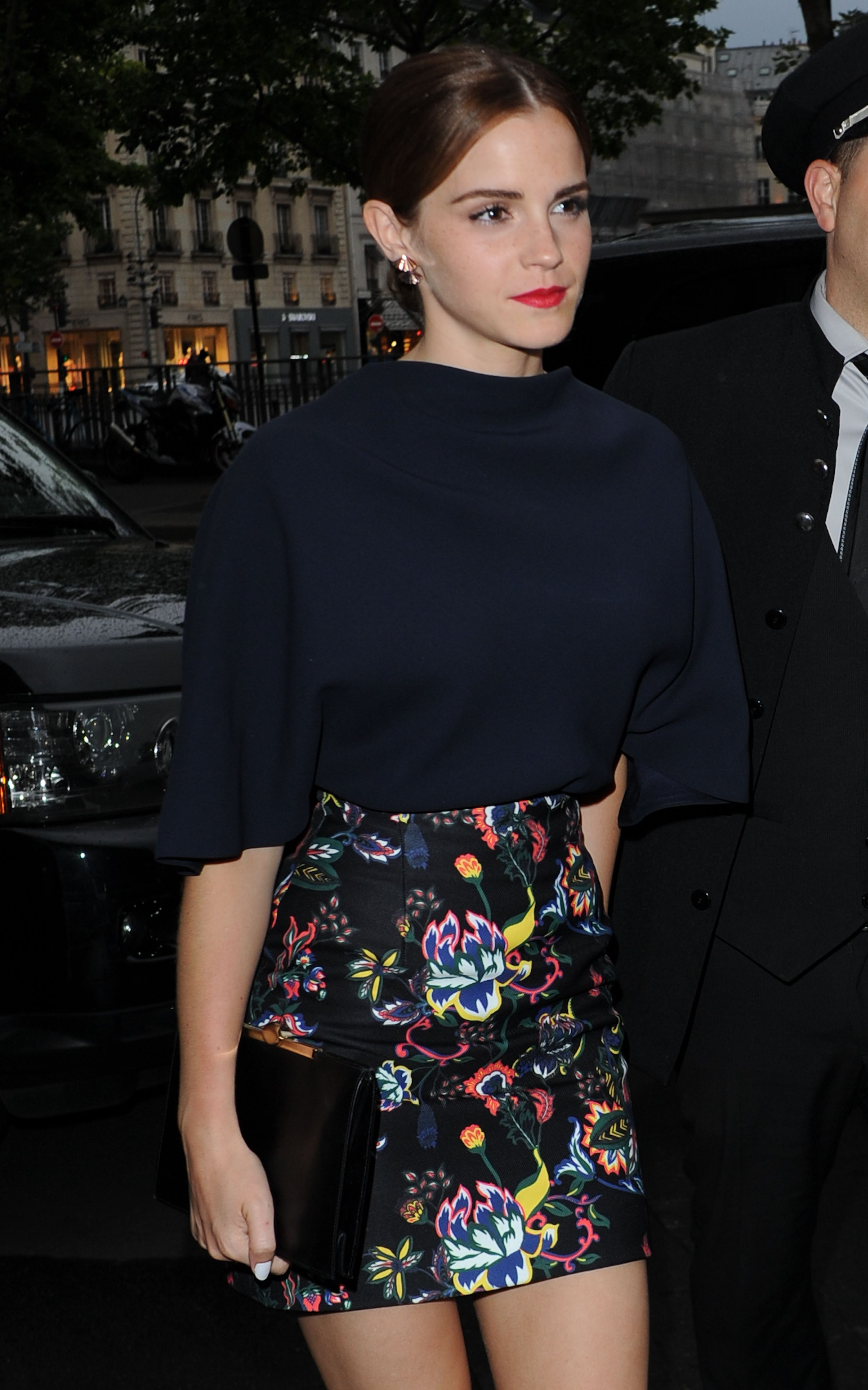 Emma Watson Arriving To Dior Private Dinner During Paris Fashion Week Haute Couture Fall Winter