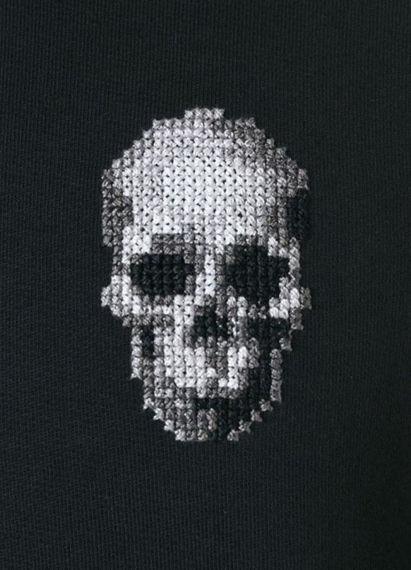 Photo of ALEXANDER MCQUEEN cross stitch skull sweatshirt #puntocruz