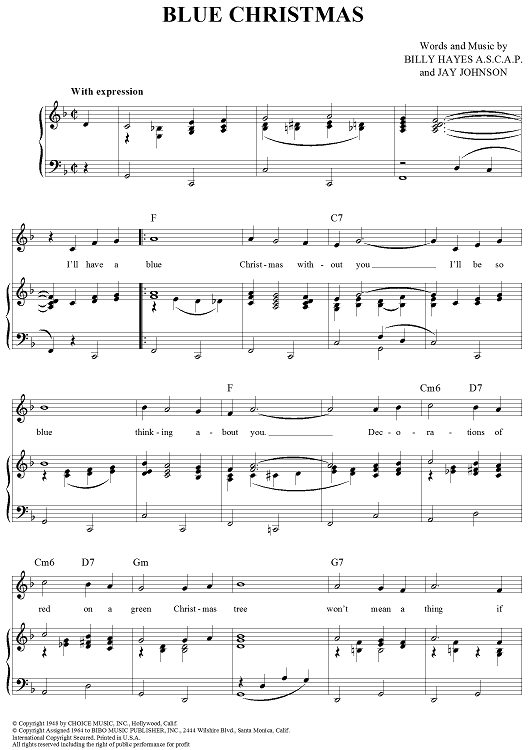 elvis presley blue christmas sheet music piano notes chords elvis presley blue christmas - Blue Christmas Guitar Chords