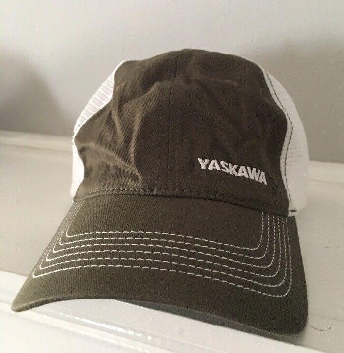 Yaskawa Electric Hat Cap Mesh Trucker Adjustable Strap Olive Green White   Yaskawa  TruckerHat 53c33eab61f