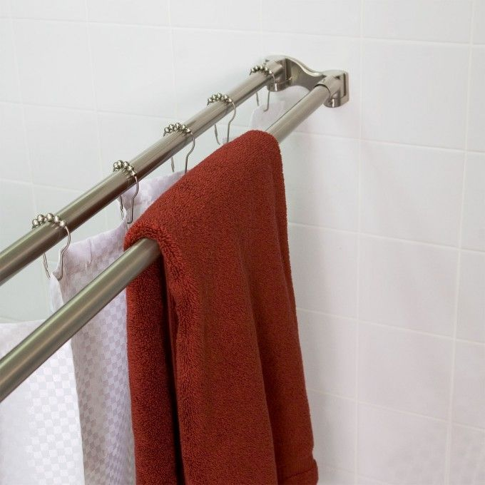 Straight Solid Brass Commercial Grade Double Shower Curtain Rod ...