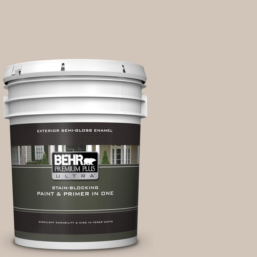 Behr Premium Plus Ultra 5 Gal Pwn 70 Indulgent Mocha Semi Gloss Enamel Exterior Paint And Primer In One Exterior Paint Behr Premium Plus Ultra Behr