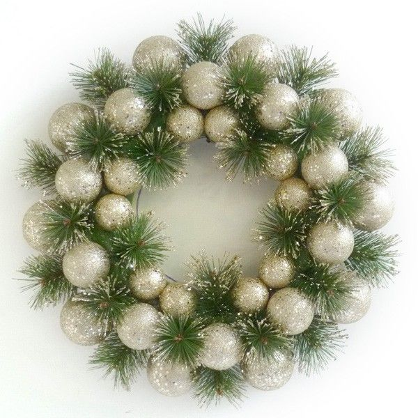 Large Champagne Christmas Bauble Wreath - A beautiful Christmas wreath made from champagne glitter baubles perfect for Australia. Made from champagne glitter baubles. Hang on your door or wall. Add a candle or vase in the middle and make a great table centre piece. 40cm diameter. $24.95 #baublewreath