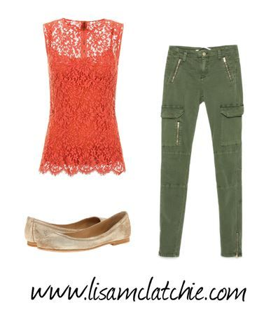 cargo pants with lace top