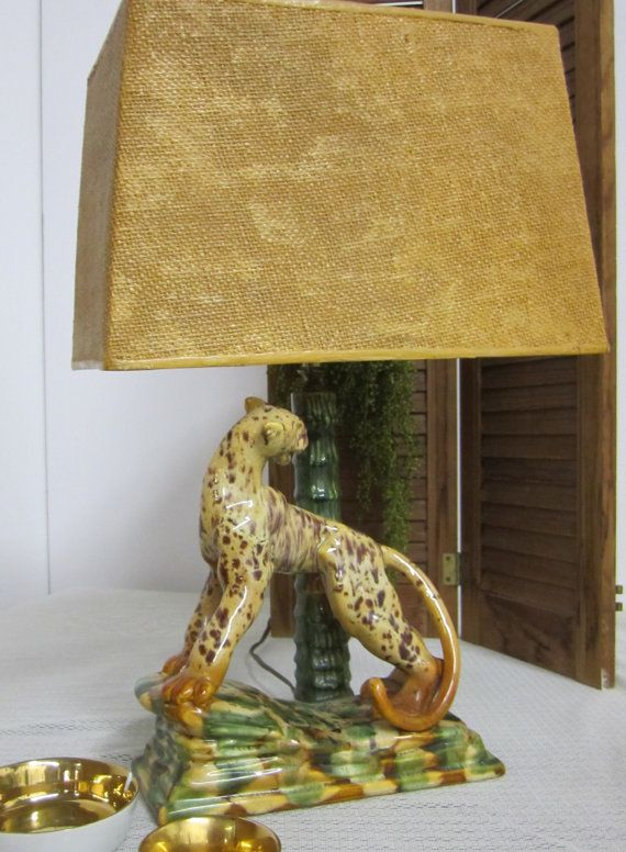 1950 Royal Haeger Leopard Lamp With Original Shade And Finial Mid Century Retro Monkey Vintage