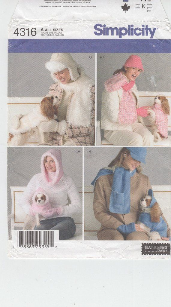 1a7585542e1 Simplicity 4316 Womens Hat Scarf and Mitts Wardrobe with Matching Dog Coats  and Clothes Pet Clothing