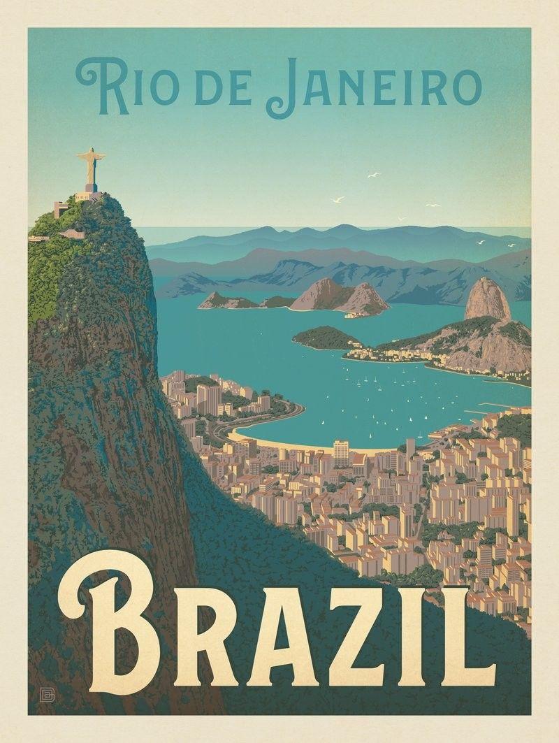 Anderson Design Group World Travel Brazil Rio De Janeiro Harbor View Retro Travel Poster Vintage Travel Posters Travel Posters
