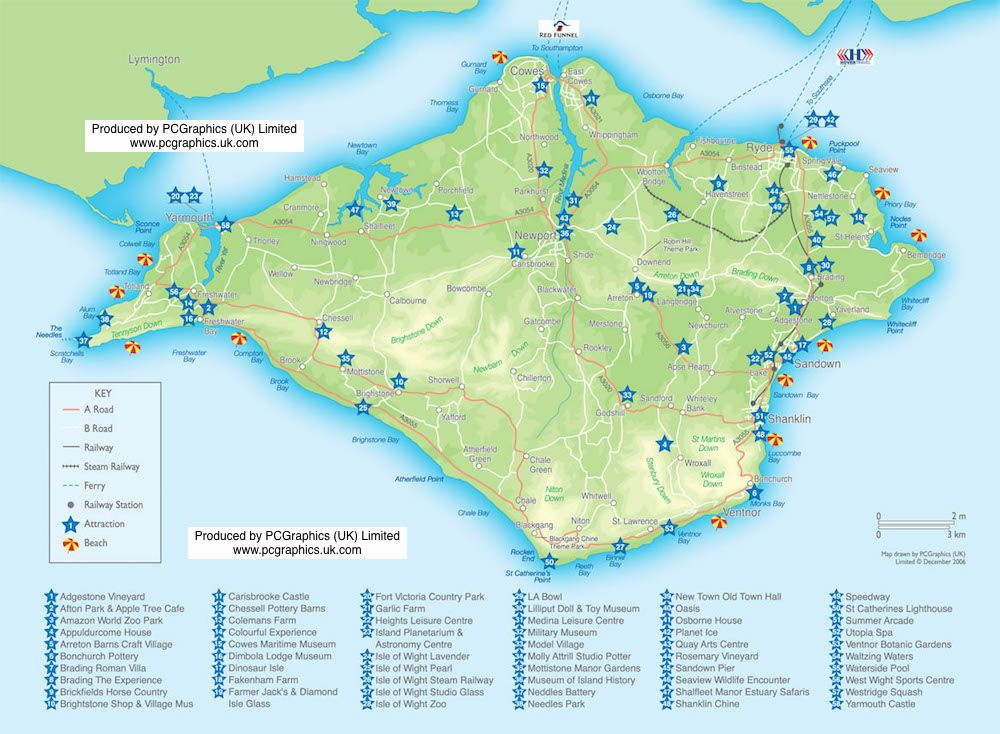 isle of wight attractions map produced by pcgraphics find out more about our maps on