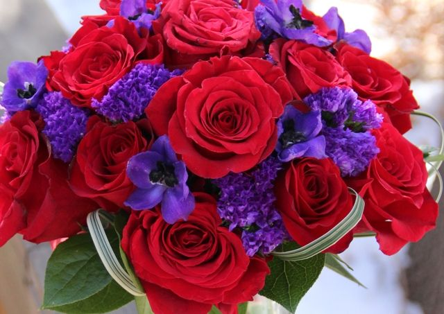 Planning A Colorado Springs Wedding This Purple And Red Bouquet With Variegated Lily Gr My