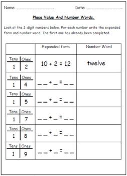A Set Of Number Words And Place Value Worksheets Looking At The