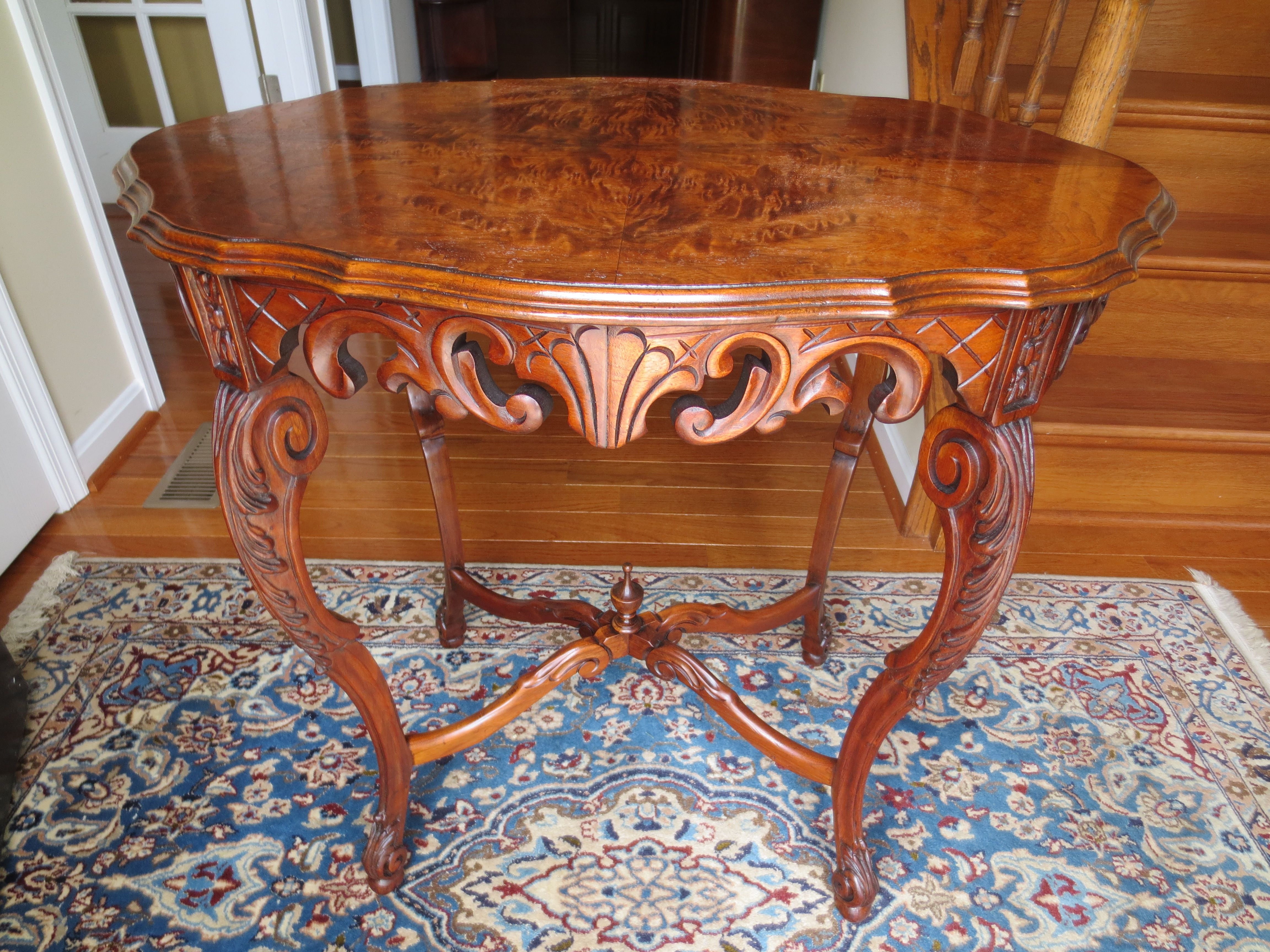 Early 1900s Walnut Carved Table After Restoration Antique Furniture Old