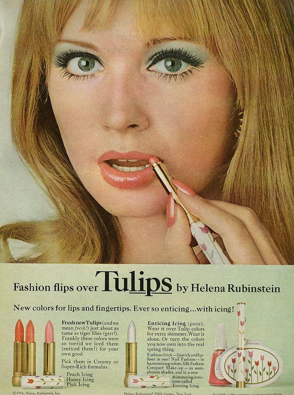1966 Cosmetics Ad Helena Rubinstein Tulips Colors For Lips