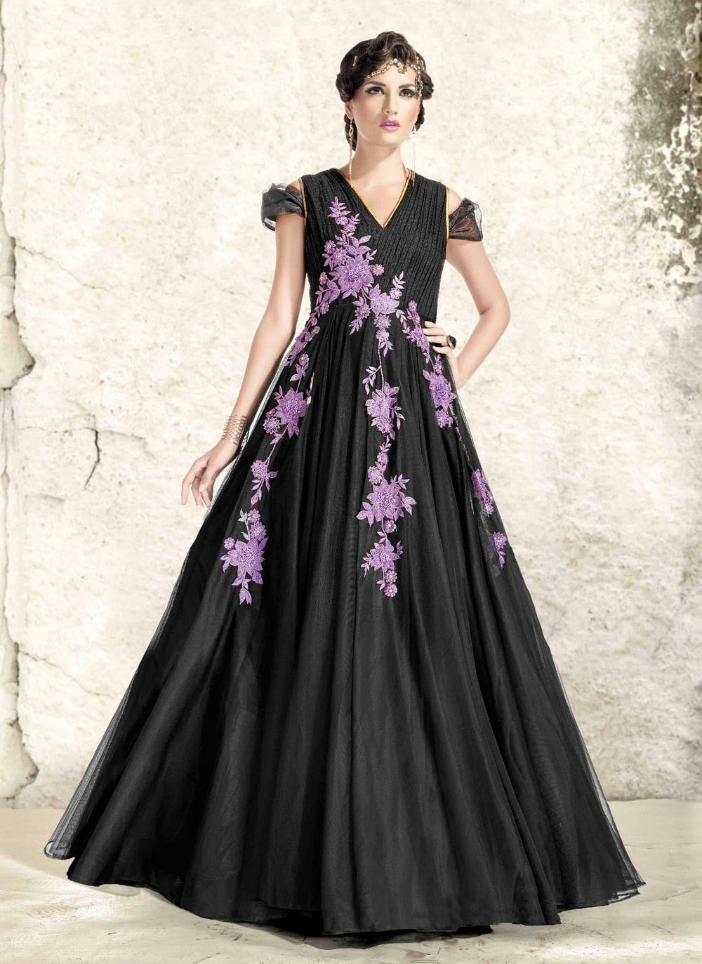 f4120cb4a06 Black floral embroidered party wear Indian gown in art silk