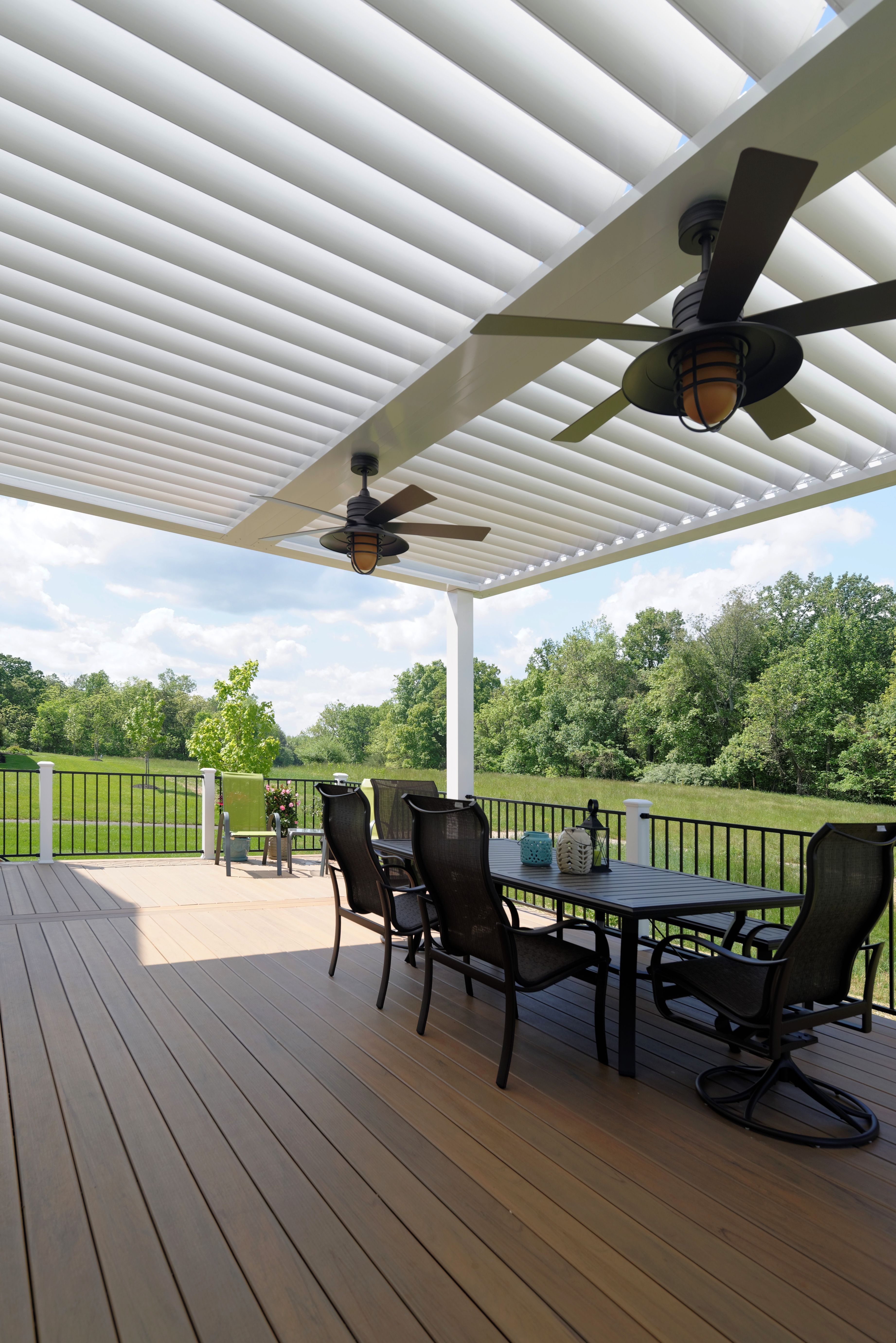 equinox adjustable louvered roof -- open the louvers for sun