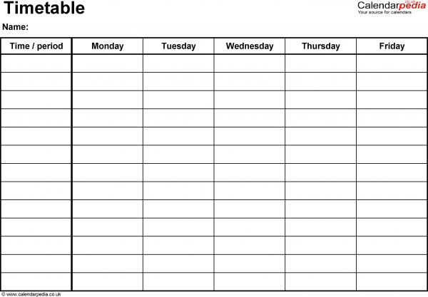 Blank Calendar Template Monday Friday  Printable