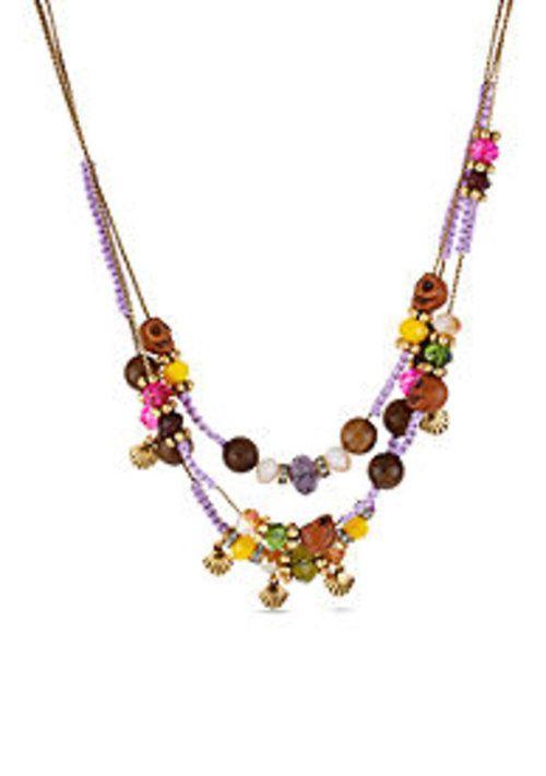 Betsey Johnson Skull Bead Macrame Illusion Necklace - $22