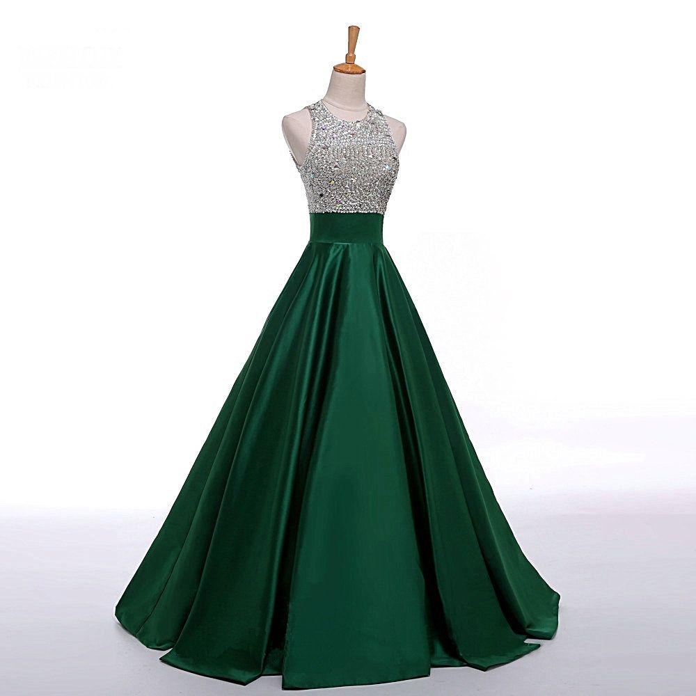 Dark green prom dresseschic sleeveless empire long evening dresses