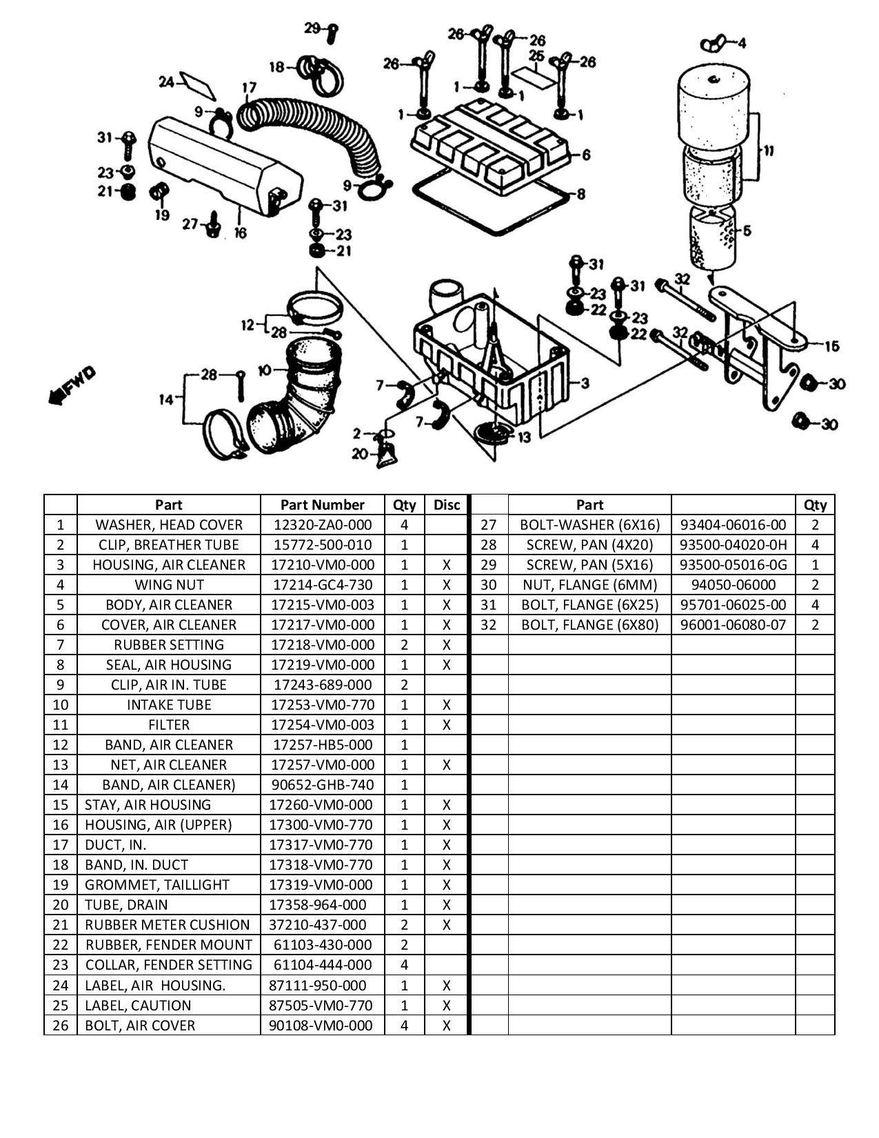 Honda Odyssey Fl350 Air Intake Diagram And Parts List Atv Parts Honda Atv