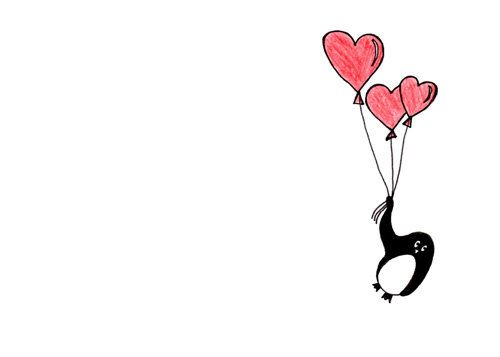 whimsical penguin drawing cute penguin with heart balloons floating on love via. Black Bedroom Furniture Sets. Home Design Ideas