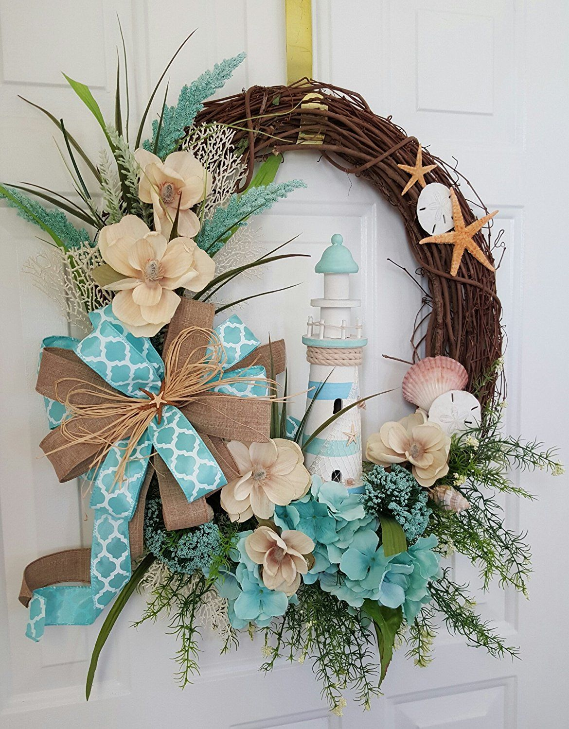 Beachy Wreath with Turquoise Starfish and Clam Shell-Beach Wreath with HOME Sign-Turquoise  Shell Wreath-Home Sign-Welcome  Wreath-Rustic