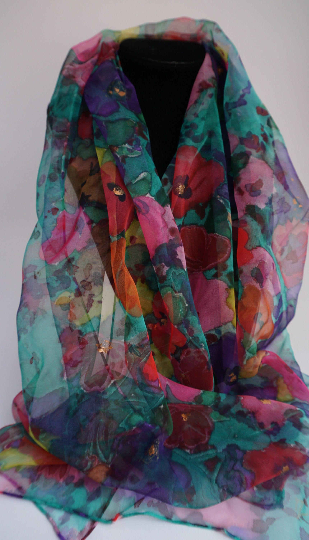 62d6045107be écharpe mousseline soie peint main, écharpe fleurie, écharpe mousseline  peinte, floralie