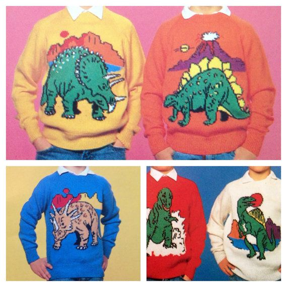 Dinosaur jumper knitting pattern sweaters for children and adults ...