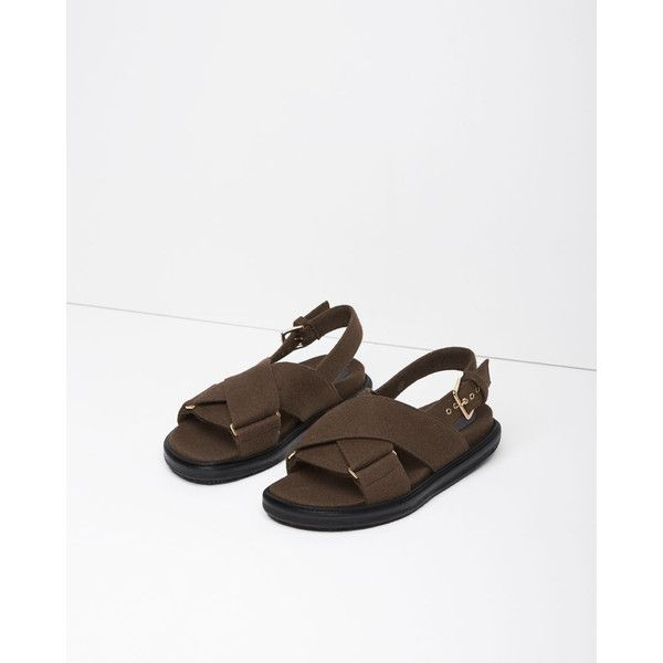 24f85d221689 Marni Criss Cross Felt Fussbett Sandal ( 555) ❤ liked on Polyvore featuring  shoes