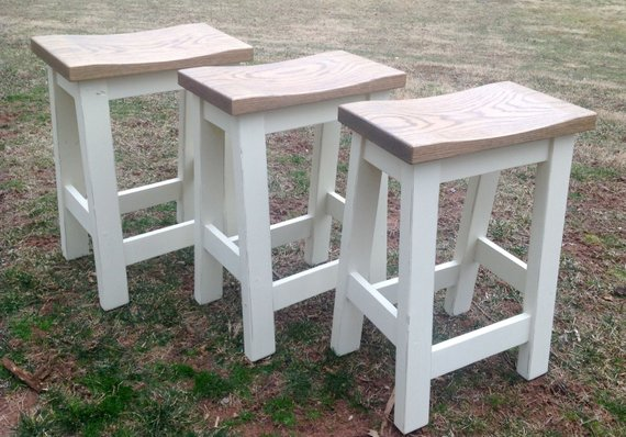 Saddle Seat Bar Stools Counter Height Stools Wood Custom Height Kitchen Stool Rustic Paint To Order Farm House Stools Custom Painted In 2020 Saddle Seat Bar Stool Backless Stools Kitchen Stools