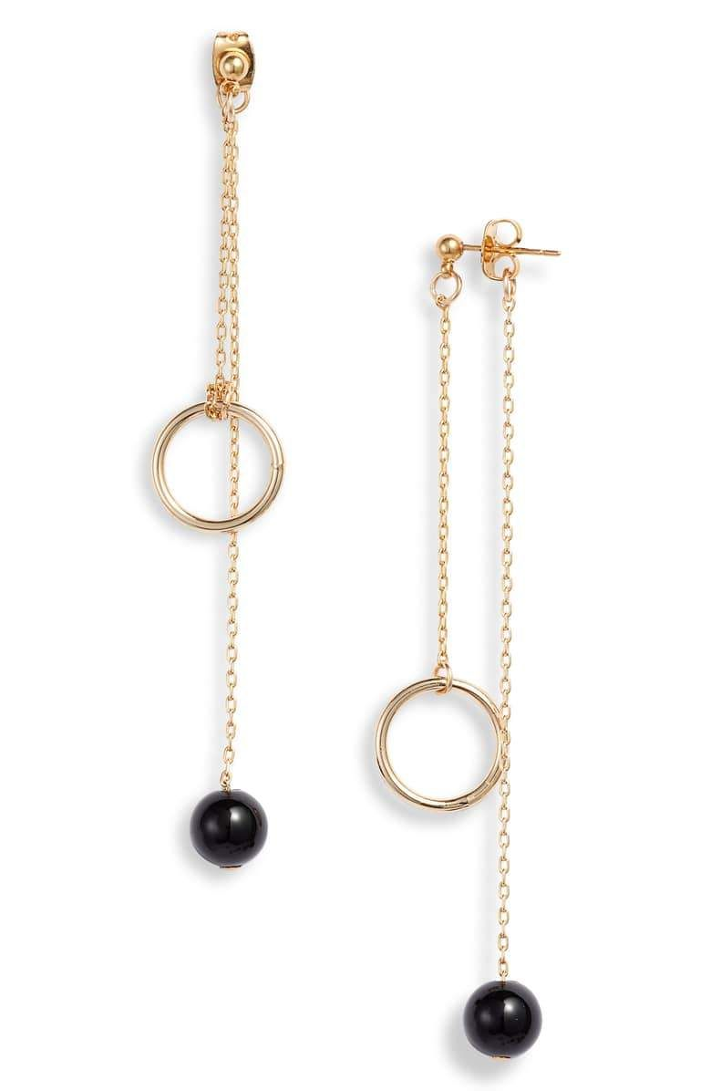 Photo of Darcy Double Drop Earrings – Gold/Black Onyx