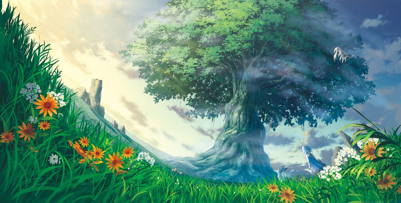 Animal Clouds Dontakku Dress Flowers Grass Original Scenic Sky Tree White Hair Konachan Com Anime Scenery Fantasy Landscape Scenery Wallpaper