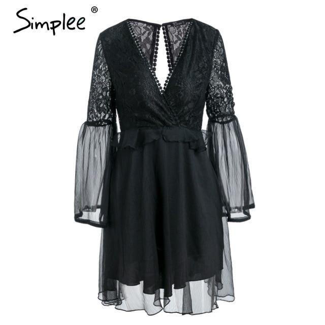 Women's Chiffon Lace Fashion Designer Backless Dresses (Short) #shortbacklessdress