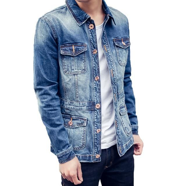 Tanming Womens Casual Solid Lapel Collar Buttons Front Denim Jean Jacket Coats