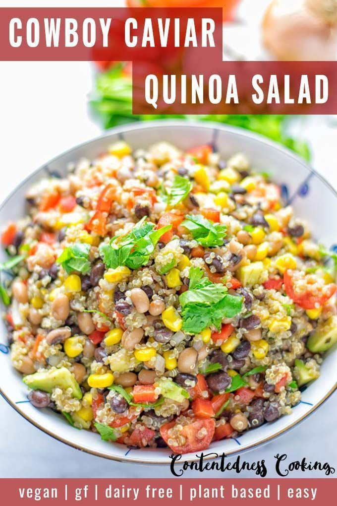 This Cowboy Caviar Quinoa Salad is naturally vegan, gluten free, and so satisfying. It has all the flavors you'll love and is super easy to make for dinner, lunch, meal prep and so much more. Enjoy and try it now You'll know how easy it can be.