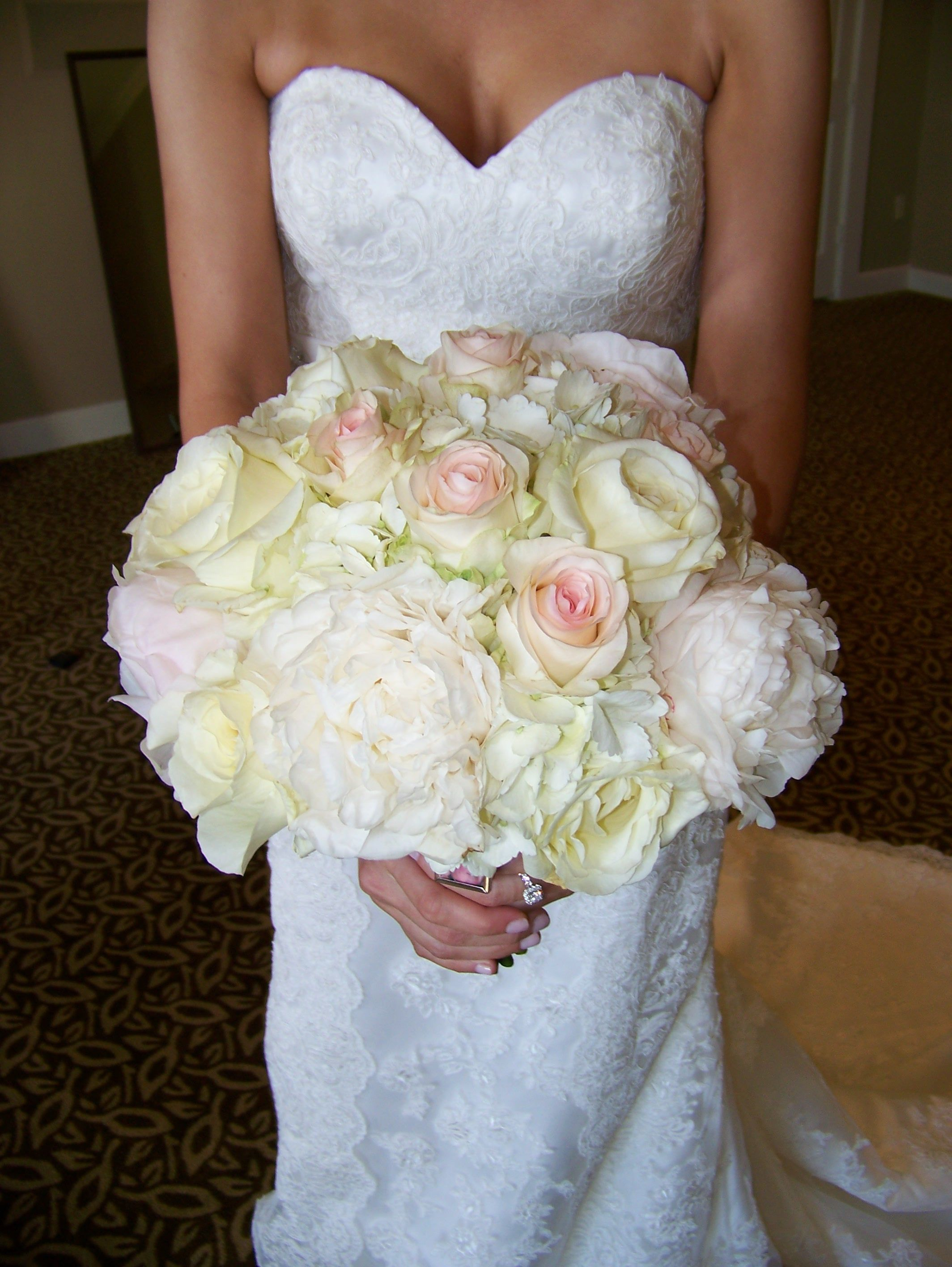 bridal bouquet of hydrangea, peonies, and garden roses.  lush, beautiful and smelled wonderful