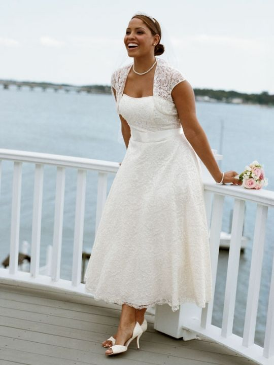 White Lace Strapless Tea-length Cap Sleeve Wedding Dress | Tea ...
