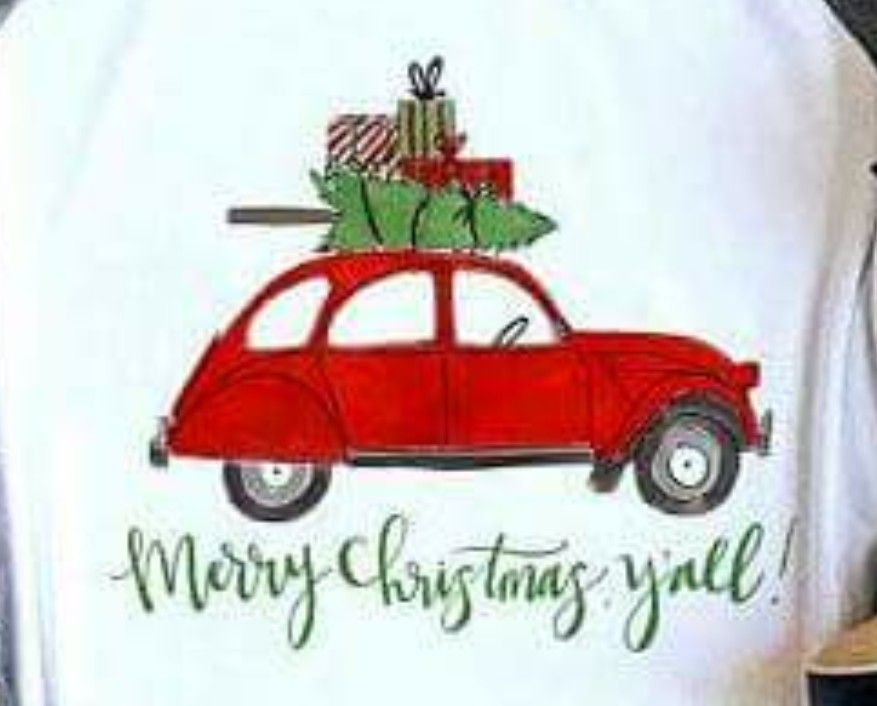 Christmas Red Car With Tree On Top Christmas Drawing Christmas Car Festival Decorations