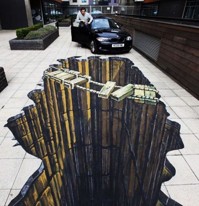 Peinture de rue trompe l 39 oeil art de vivre frawsy anamorphoses street art illusions - Trompe l oeil peinture ...