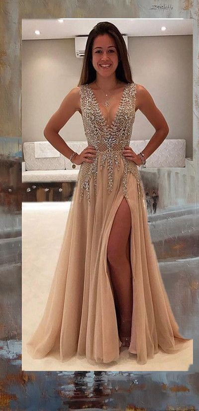 Champagne Beaded Sexy Party Prom Dress New Style Fashion Evening