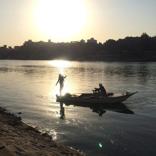 nile #river #boat #sail #fishing #net #outline #sunset #sun #glow