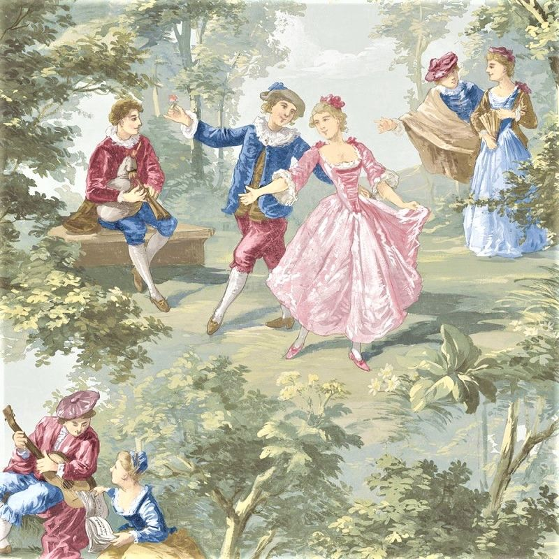 Old World Vintage Victorian Lovers Toile Grand Chateau Cottage Chic Wallpaper
